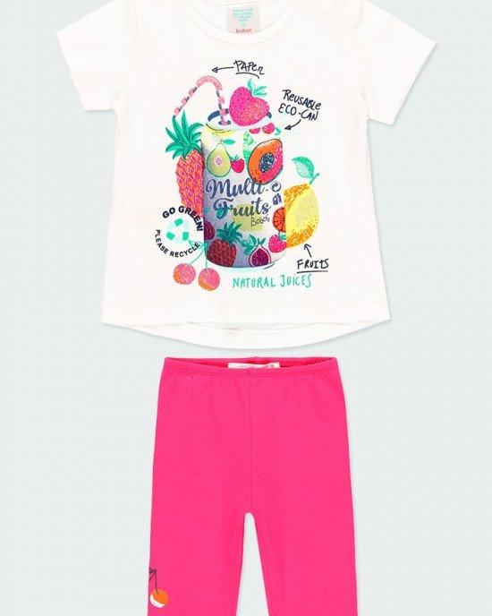 Комплект (футболка + капри) белого цвета в фруктовый принт