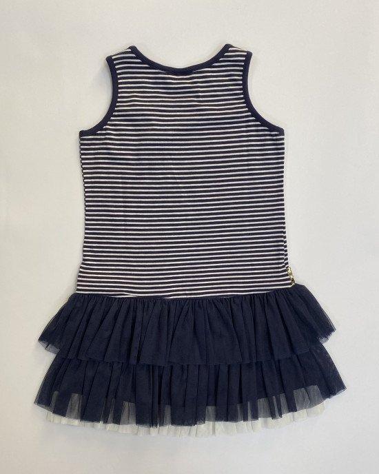 Платье синего цвета с пышным фатиновым низом