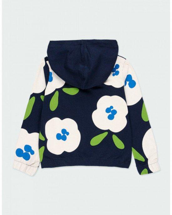 Кофточка с замком - молнией синего цвета в цветочный принт
