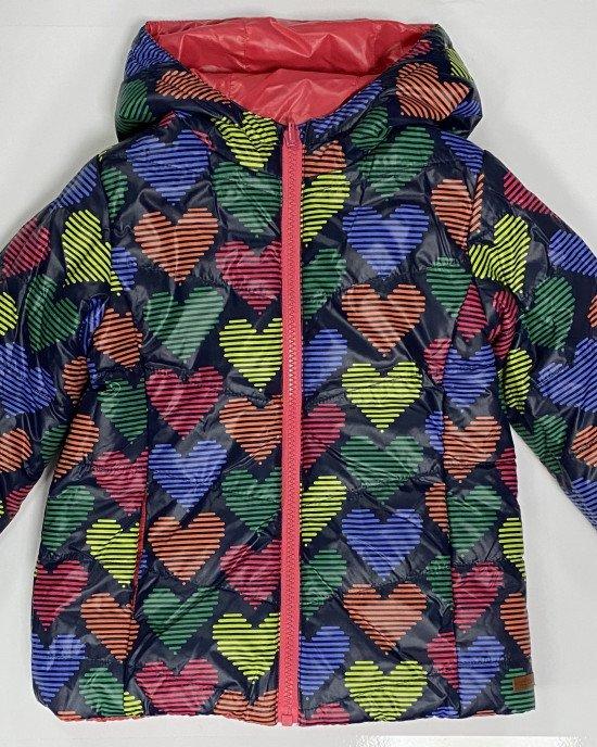 """Куртка двусторонняя демисезонная с рисунком """"сердечки"""""""