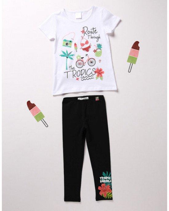Комплект (футболка + леггинсы) с ярким летним принтом