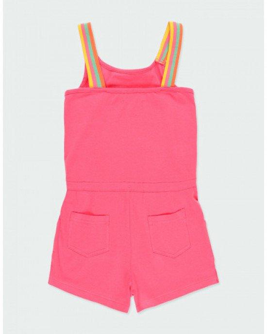 Комбинезон трикотажный с шортами розового цвета в принт