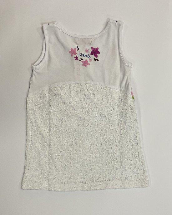 Платье белого цвета с кружевом в цветочный принт