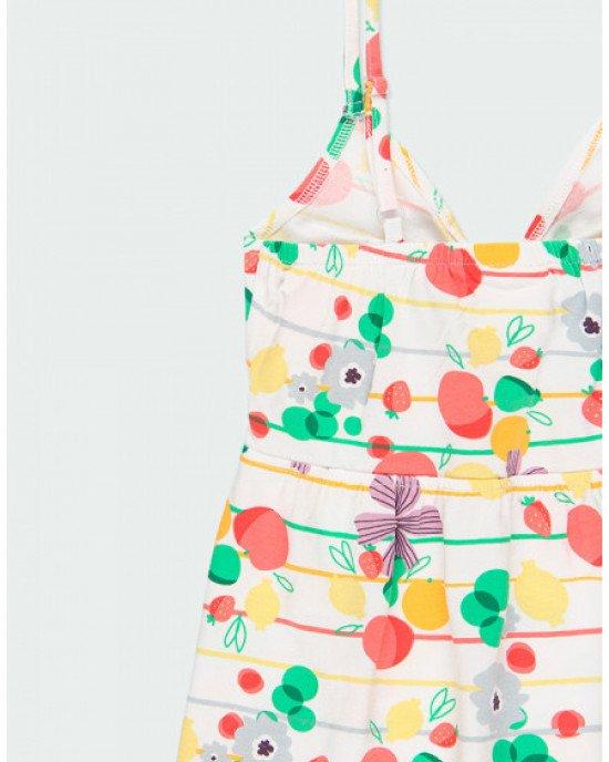 Сарафан белого цвета с ягодно - цветочным принтом