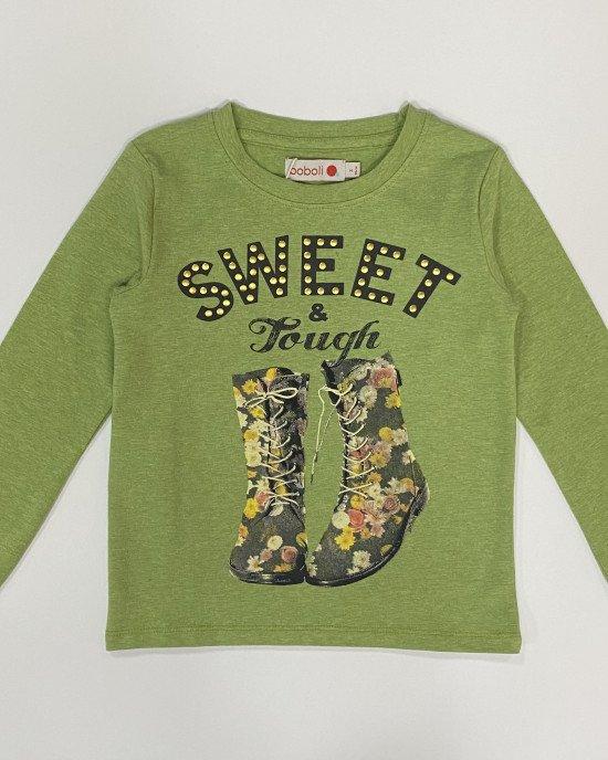 """Реглан (лонгслив) зеленого цвета с надписью """"sweet & tough"""" и рисунком"""