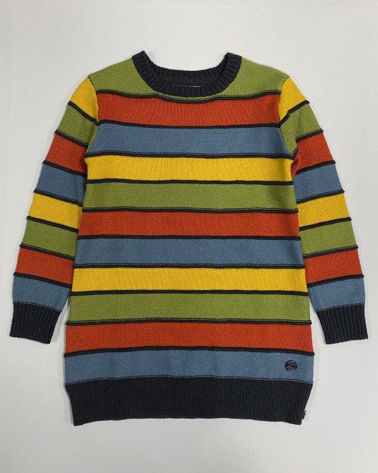 Платье - туника в многоцветную полосу