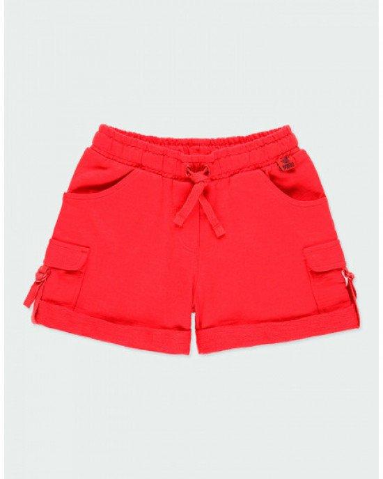 Шорты трикотажные красного цвета с карманами