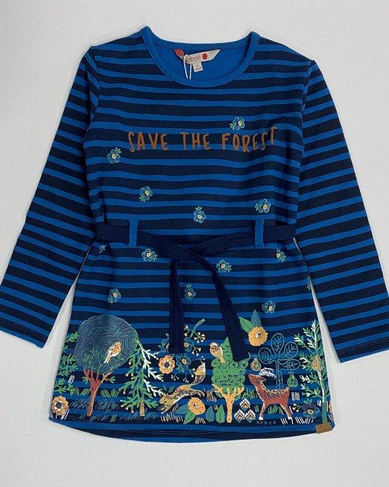 Платье утепленное с поясом и цветным принтом