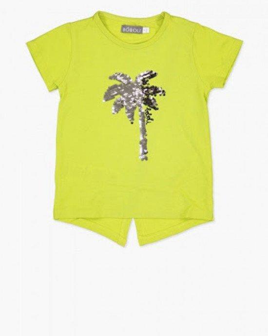 """Футболка - блузон лимонного цвета с декором """"пальма"""""""