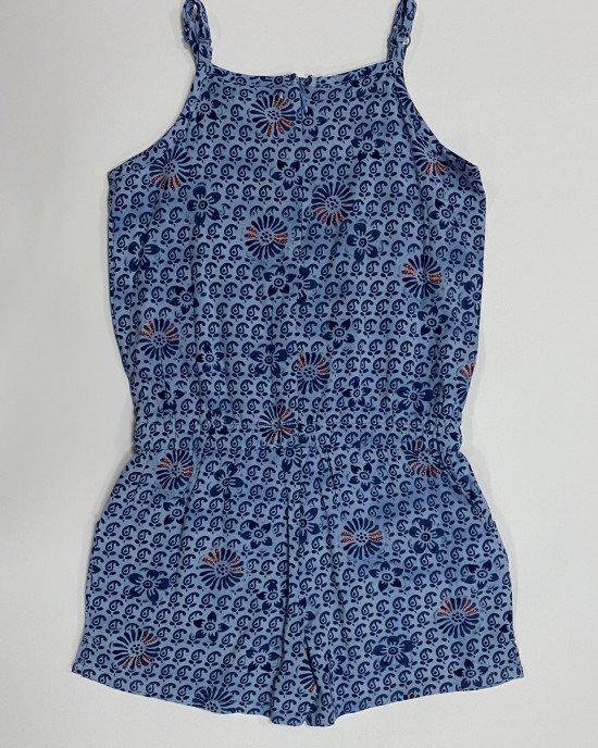 Комбинезон с шортами голубого цвета в синий принт