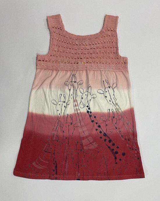 """Платье - сарафан розово - пудрового цвета с принтом """"жирафы"""""""