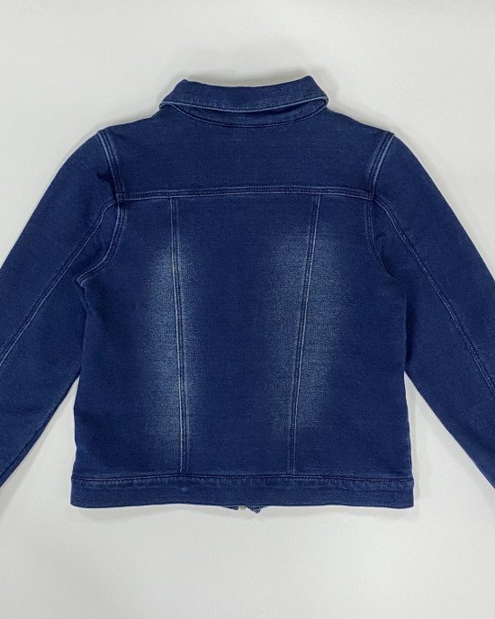 Куртка трикотажная темно - синего цвета с застежкой - молнией