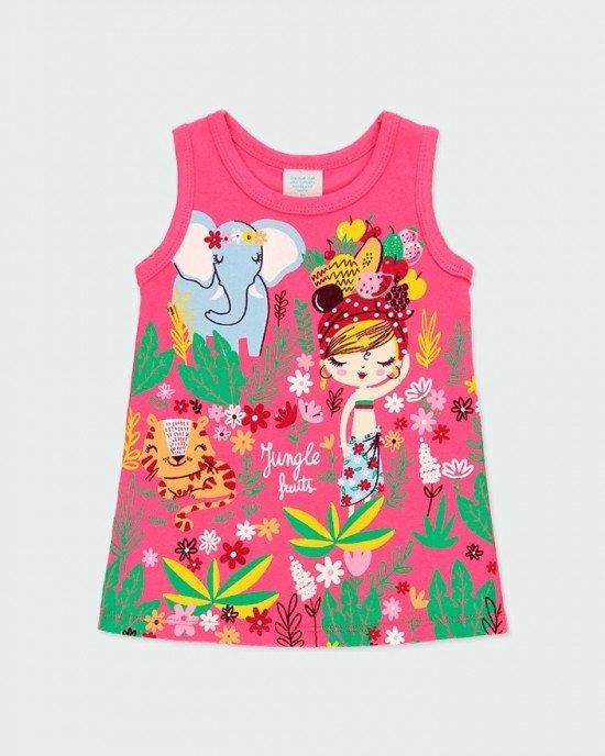 Платье летнее розовое в яркий, сочный принт