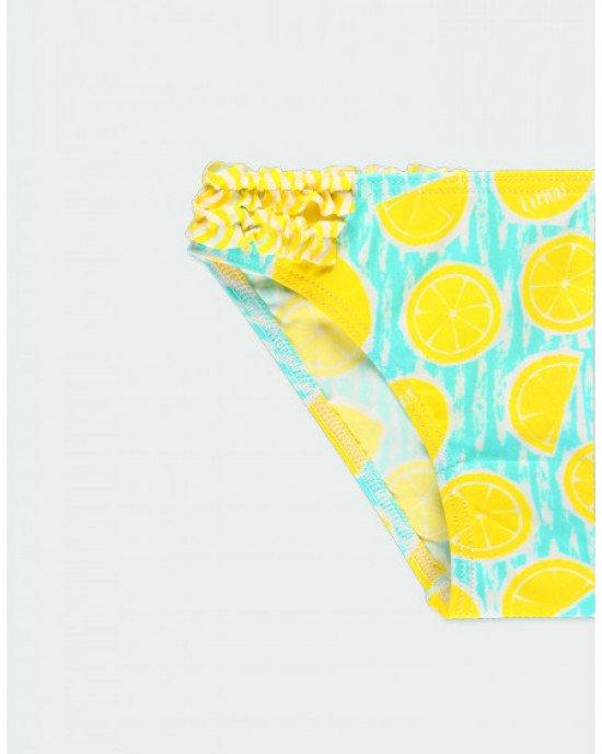 Купальник (топ + плавки) в яркий, лимонный принт