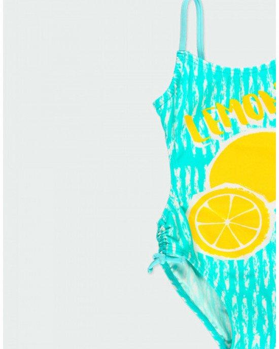 """Купальник совместный бирюзового цвета с принтом и надписью """"Lemon"""""""