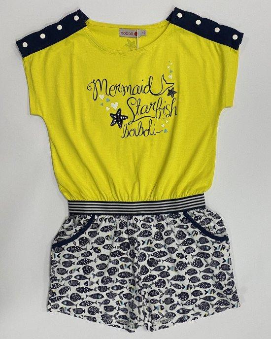 Комбинезон с шортами желто - синего цвета в морской принт