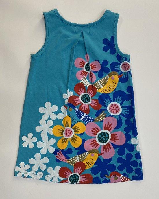 Платье - сарафан голубого цвета в яркий, цветочный принт