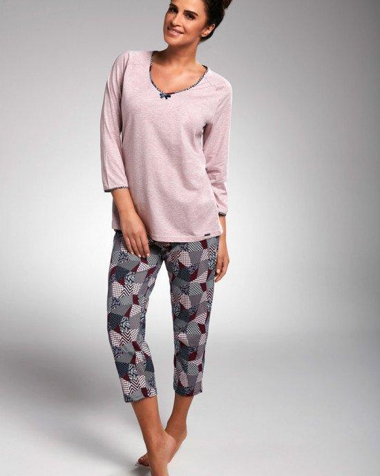 """Пижама (реглан + капри) цвета розовый меланж с """"лоскутным"""" принтом"""