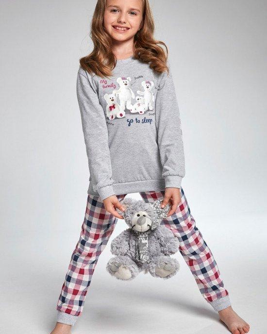 "Пижама (реглан + брюки) серого цвета с принтом ""family"""