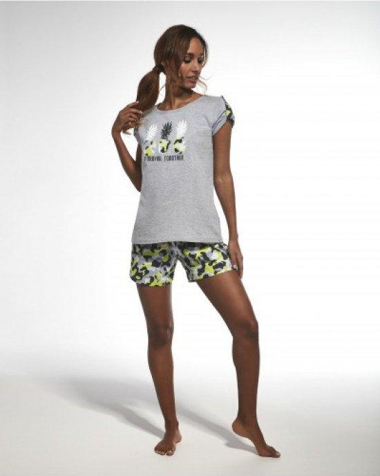 """Пижама (шорты + футболка) серого цвета с принтом """"ананасы"""""""