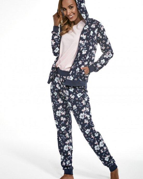 Пижама (худи + брюки + футболка) сине-розового цвета с цветочным принтом