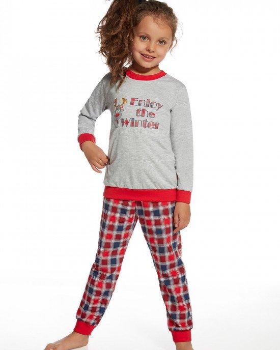 Пижама (реглан + брюки) серо-красного цвета с новогодним принтом