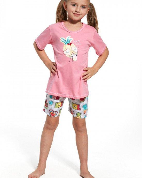 Пижама (шорты + футболка) розового цвета с фруктовым принтом