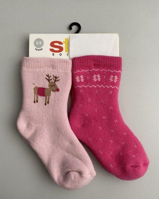 Носки (2 пары) махровые розовые