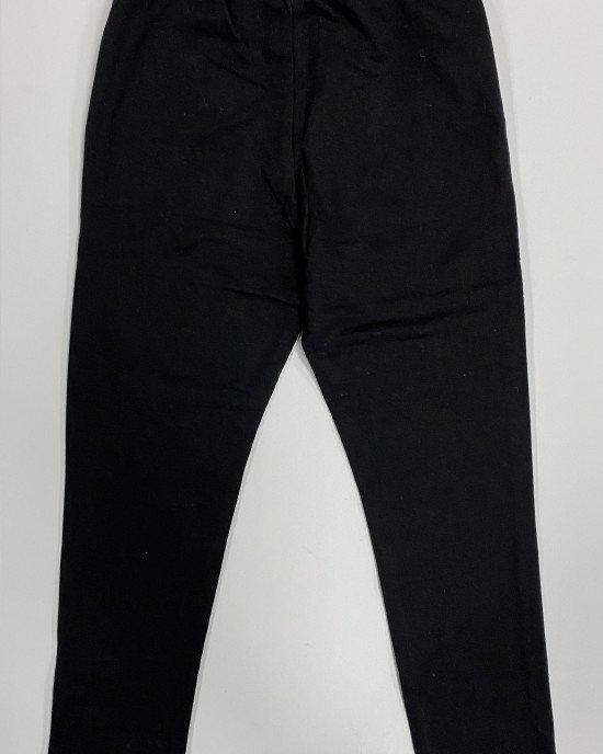 Штаны спортивные утепленные черного цвета с аппликацией