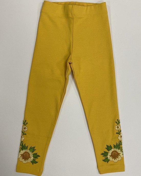 Леггинсы желтого цвета с вышивкой