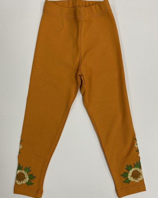 Леггинсы оранжевого цвета с вышивкой
