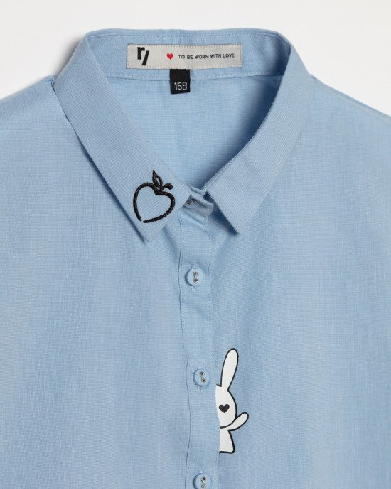 Блуза голубая с коротким рукавом