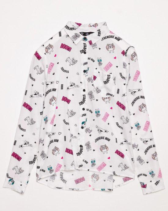Блуза из вискозы белая в принт