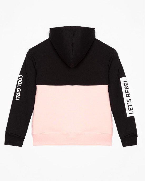 Толстовка черно-розовая