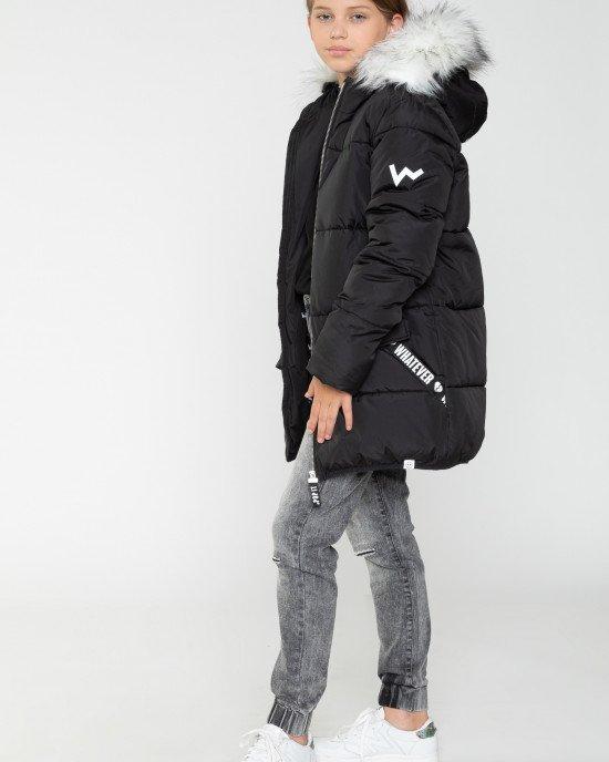 Куртка утепленная черная с белыми элементами