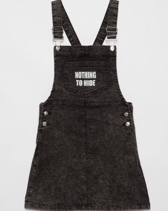 Комбинезон из черной ткани с карманом
