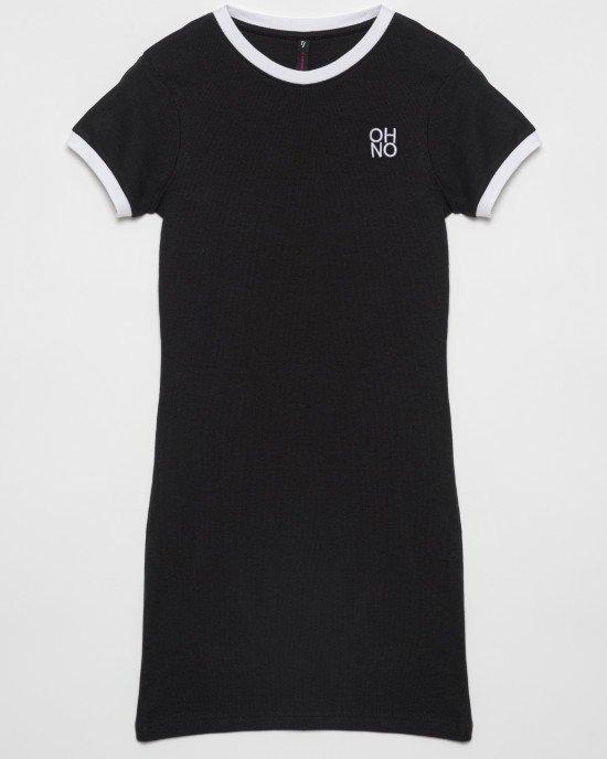 Платье прямого силуэта из черной фактурной ткани