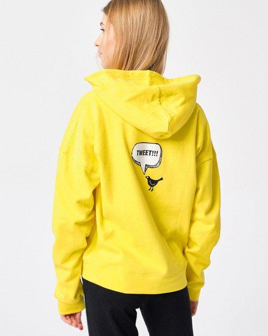 Толстовка утепленная желтого цвета с принтом спереди и сзади