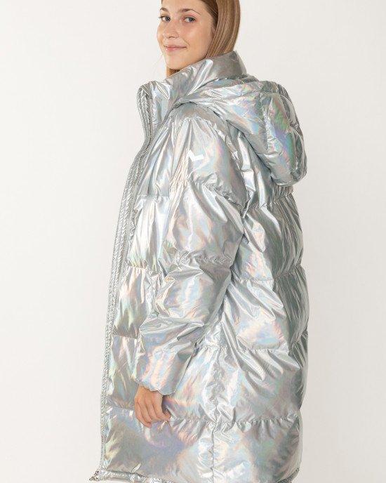 Пальто утепленное с капюшоном радужной расцветки