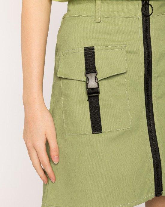 Юбка оливкового цвета с застежкой - молнией и карманами