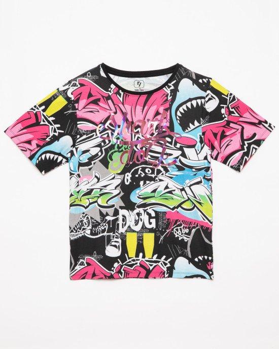 """Футболка с принтом граффити и надписью """"Shark dog"""""""