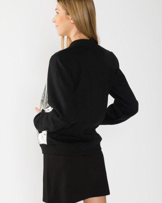 Бомбер утепленный черно - серебристого цвета