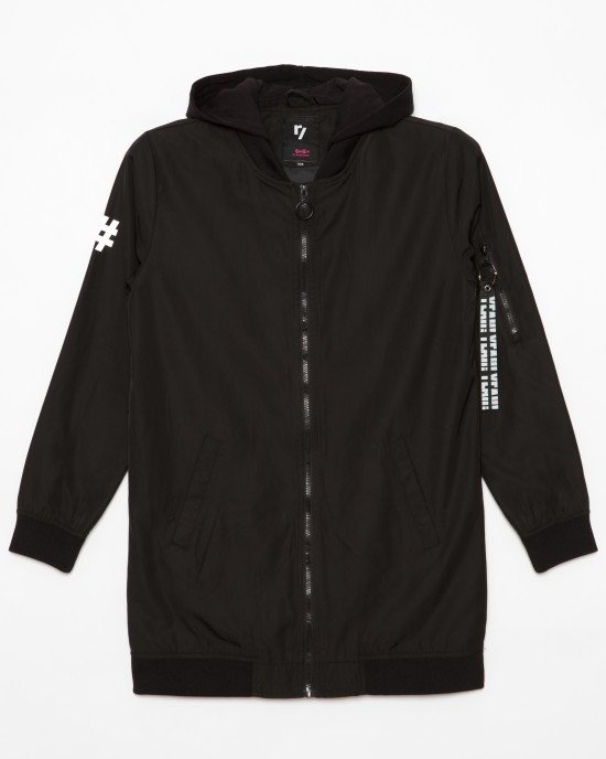 Куртка - парка черного цвета со съемным капюшоном