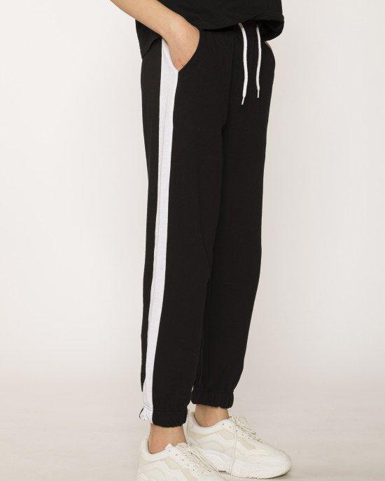 Штаны спортивные черного цвета с широкими белыми лампасами
