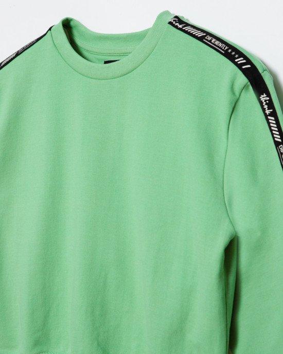 Свитшот зеленого цвета с черными лампасами
