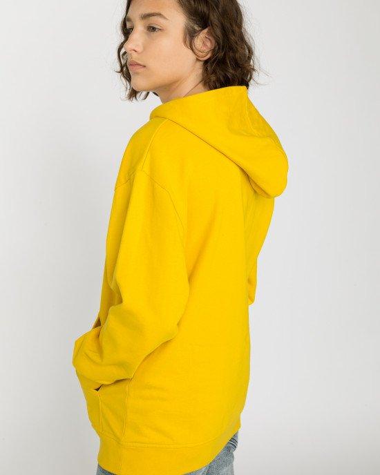 Худи желтого цвета с черным принтом и утеплением