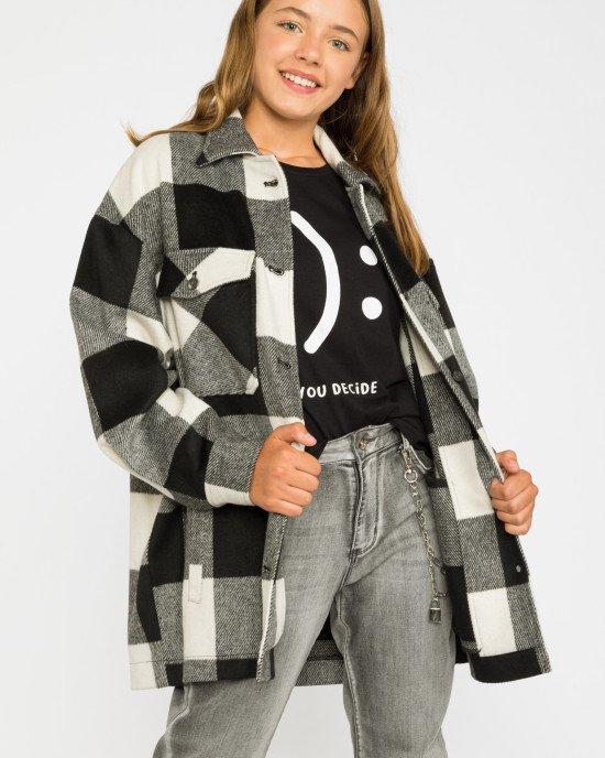 Рубашка - пальто в черно - серую клеточку