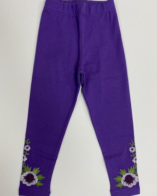 Леггинсы фиолетового цвета с вышивкой