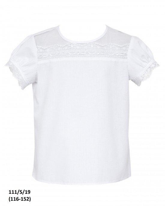 Блуза с коротким рукавом и кружевной вставкой