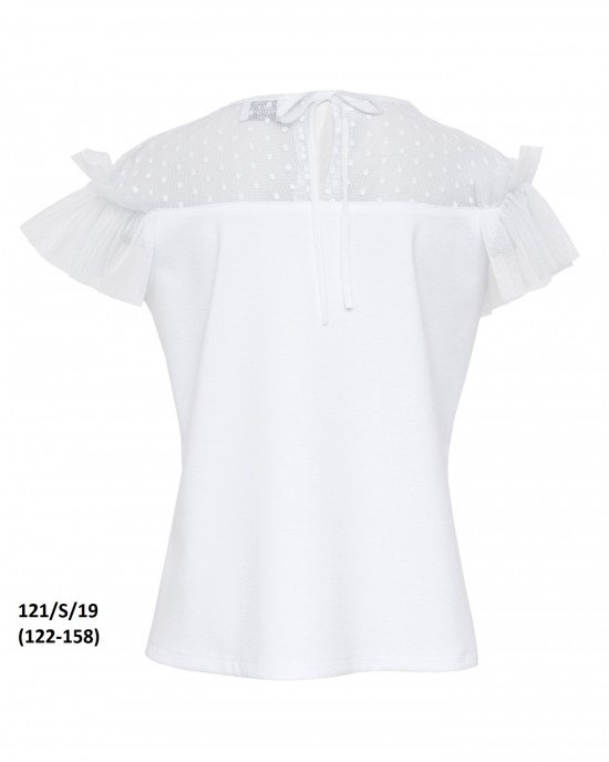 Блуза с коротким рукавом и вставками из фатина